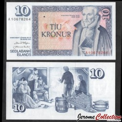 ISLANDE - Billet de 10 Kronur - Arngrímur Jónsson - 1981 P48a2