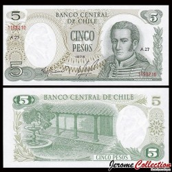 CHILI - BILLET de 5 Pesos - José Miguel Carrera - 1975 P149a