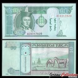 MONGOLIE - Billet de 10 Tögrög - Chevaux - 2002 P62b