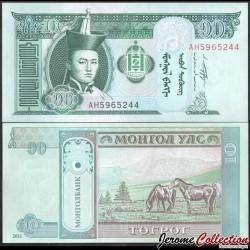 MONGOLIE - Billet de 10 Tögrög - Chevaux - 2011 P62f