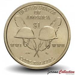 ETATS UNIS / USA - PIECE de 1 Dollar - Native american - Code talkers - WWI WWII Km#618