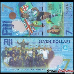 FIDJI - Billet de 7 DOLLARS - Médaille d'Or du Rugby à 7 - 2016 P120a
