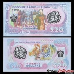 PENINSULE INDOCHINOISE - Billet de 20 Dollars - Elephants / Tigre - Polymer - 2020 0020