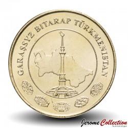 TURKMENISTAN - PiECE de 10 Tenge - Carte du Turkmenistan - 2009