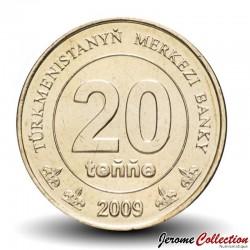 TURKMENISTAN - PiECE de 20 Tenge - Carte du Turkmenistan - 2009 Km#99