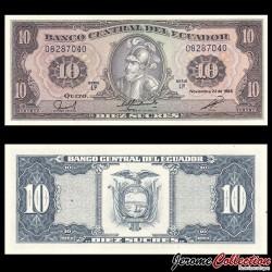 EQUATEUR - Billet de 10 Sucres - 1988