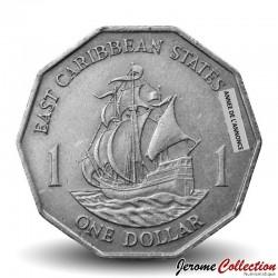 """CARAIBE ORIENTALE - PIECE de 1 Dollar - Bateau """"Golden Hind"""" - 1997 Km#20"""
