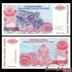 CROATIE / KRAJINA - BILLET de 10 000 000 000 Dinars - Forteresse de Knin - 1993 PR28a