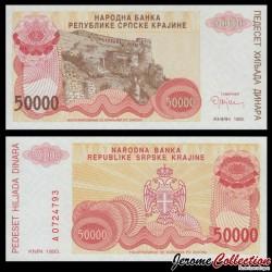 CROATIE / KRAJINA - BILLET de 50000 Dinars - Forteresse de Knin - 1993 PR21a