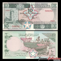 SOMALIE - Billet de 10 Shillings - Construction de bateaux - 1987 P32c