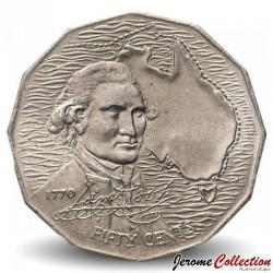 AUSTRALIE - PIECE de 50 Cents - Bicentenaire du voyage de James Cook - 1970 Km#69