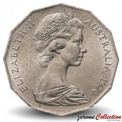 AUSTRALIE - PIECE de 50 Cents - Bicentenaire du voyage de James Cook - 1970
