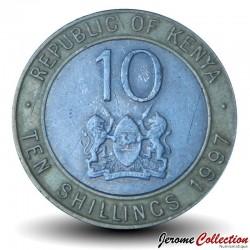 KENYA - PIECE de 10 shillings - Bimétal - Président Arap Moi - 1997 Km#27