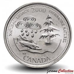 CANADA - PIECE de 25 CENTS - Série Millénium - Patrimoine naturel - 2000 Km#382