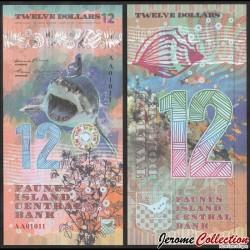 FAUNUS ISLAND - Billet de 12 DOLLARS - Requin - 2020 0012