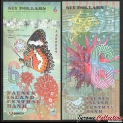 FAUNUS ISLAND - Billet de 6 DOLLARS - Papillon - 2020 0006