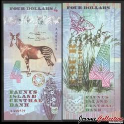 FAUNUS ISLAND - Billet de 4 DOLLARS - Okapi - 2020 0004