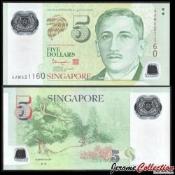 SINGAPOUR - Billet de 5 DOLLARS - Polymer - ▲▲ - Jardins - 2013 P47c