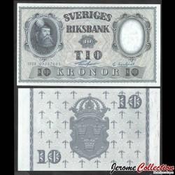 SUEDE - Billet de 10 Kronor - Roi Gustav Vasa - 1958 P43f2