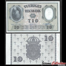 SUEDE - Billet de 10 Kronor - Roi Gustav Vasa - 1960 P43h4
