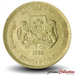 SINGAPOUR - PIECE de 5 Cents - Feuilles de faux philodendron - 1988
