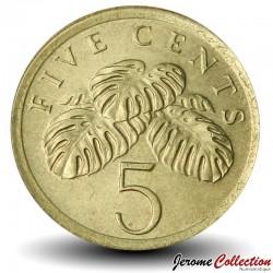 SINGAPOUR - PIECE de 5 Cents - Feuilles de faux philodendron - 1989 Km#50