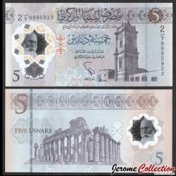 LIBYE - Billet de 5 Dinars - Tour de l'horloge ottomane - Polymer - 2021 Pnew