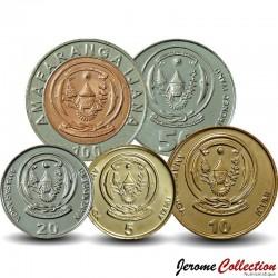 RWANDA - SET / LOT de 6 PIECES - 1 5 10 20 50 100 Francs - 2003 / 2011