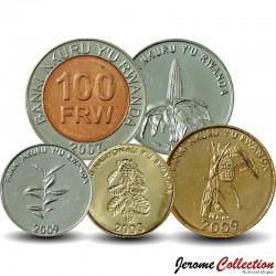 RWANDA - SET / LOT de 6 PIECES - 1 5 10 20 50 100 Francs - 2003 2007 2009 2011 Km#22 32 33 34 35 36