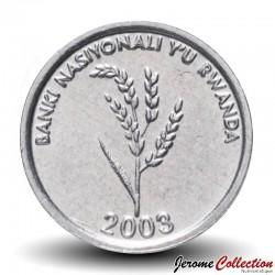 RWANDA - PIECE de 1 Franc - Plan de sorgho - 2003 Km#22