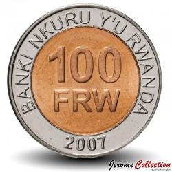 RWANDA - PIECE de 100 Francs - Armes nationales - Bimétal - 2007