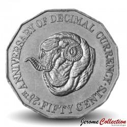 AUSTRALIE - PIECE de 50 Cents - Bélier - 1991 Km#139