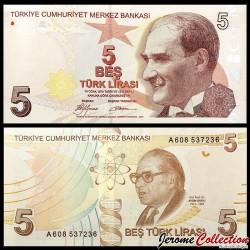 TURQUIE - Billet de 5 Livre Turque - Prof Dr. Aydın Sayılı - 2009 P222a