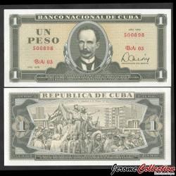 CUBA - Billet de 1 Peso - José Martí - 1979 P102b2