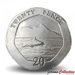 GIBRALTAR - PIECE de 20 Pence - Dauphin - 2020 Km#New