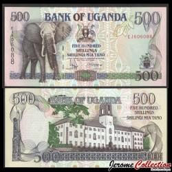 OUGANDA - Billet de 500 Shillings - Eléphant - 1991 P33b