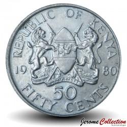 KENYA - PIECE de 50 Cents - Président Arap Moi - 1980