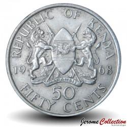 KENYA - PIECE de 50 Cents - Président Jomo Kenyatta - 1968