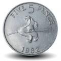 GUERNESEY (île de) - PIECE de 5 Pence - Lis rouge de Guernesey - 1982 Km#29