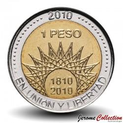 ARGENTINE - PIECE de 1 Peso - Bimétal - Glacier Perito Moreno - 2010