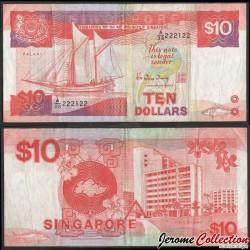 SINGAPOUR - Billet de 10 DOLLARS - Voilier Palari - 1988 P20a