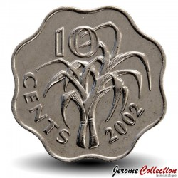 SWAZILAND - PIECE de 10 Cents - Mswati III - Cannes à sucre - 2002