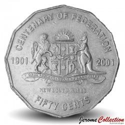 AUSTRALIE - PIECE de 50 Cents - Centenaire de la fédération: Nouvelle-Galles du Sud - 2001 Km#551