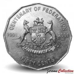 AUSTRALIE - PIECE de 50 Cents - Centenaire de la fédération: Tasmanie - 2001 Km#565