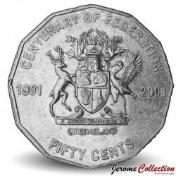 AUSTRALIE - PIECE de 50 Cents - Centenaire de la fédération: Queensland - 2001 Km#555