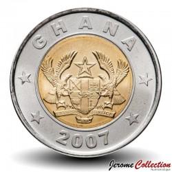 GHANA - PIECE de 1 Cedi - Bimétal - Balance de la Justice - 2007 Km#42