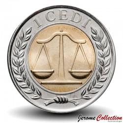 GHANA - PIECE de 1 Cedi - Bimétal - Balance de la  Justice - 2007