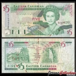 CARAIBE ORIENTALE / SAINTE LUCIE - Billet de 5 DOLLARS - Tortue - 1994 P31L