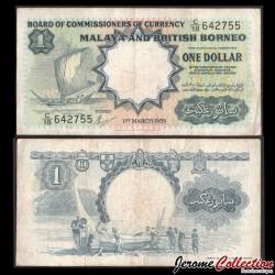 MALAISIE / Bornée Britannique - Billet de 1 Dollar - Bateau à voile - TDLR - 1959 P8A