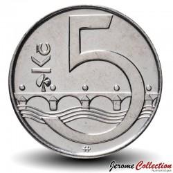 REPUBLIQUE TCHEQUE - PIECE de 5 Korun - Pont Charles IV - 1993 Km#8